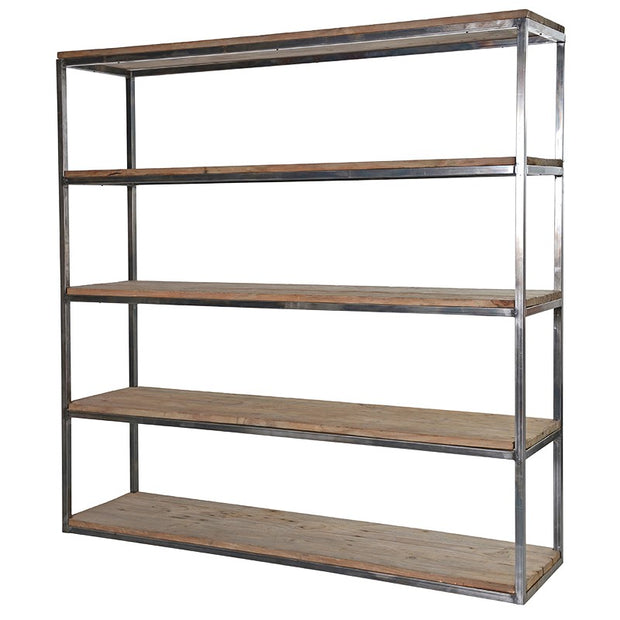 Large Open Shelving Unit in Reclaimed Pine and Metal