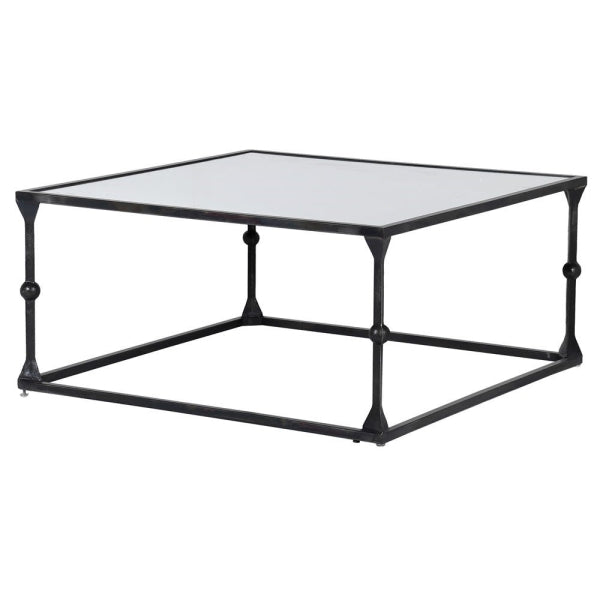 METAL COFFEE TABLE WITH MIRRORED GLASS TOP