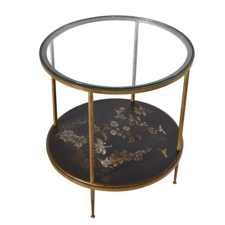GOLD LEAF / GLASS ROUND OCCASIONAL TABLE