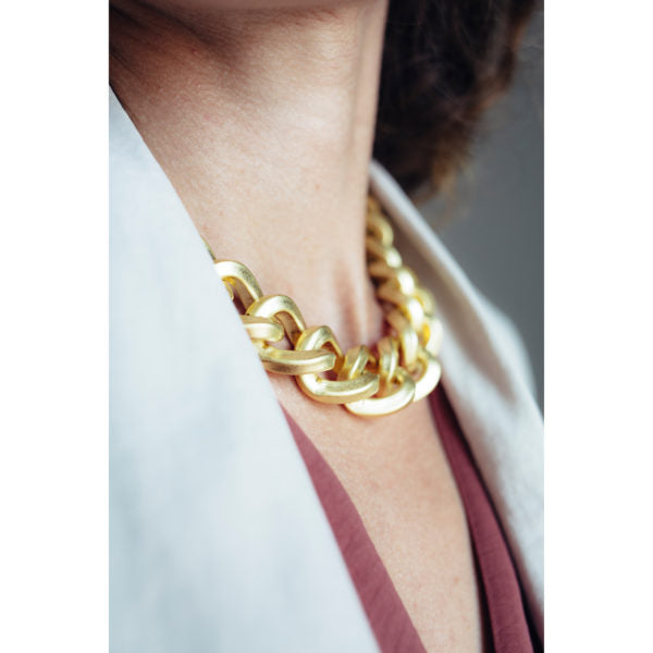 CHUNKY MATT GOLD NECKLACE