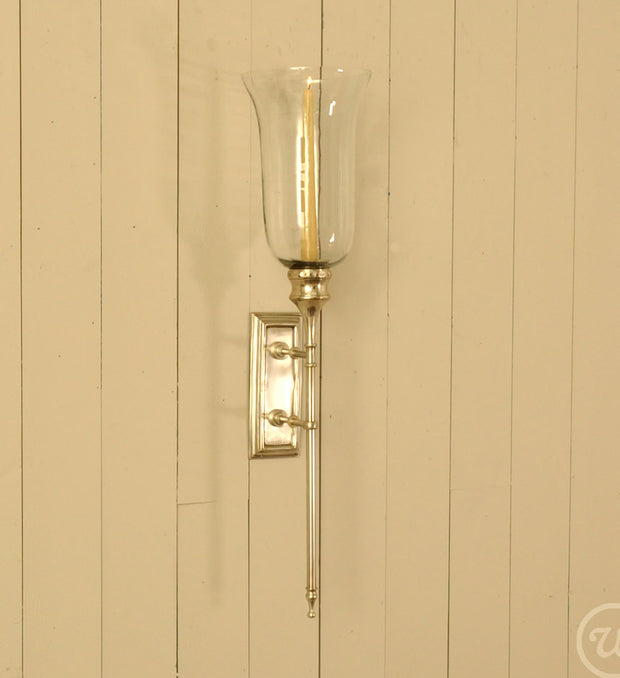 ANTIQUE SILVER AND GLASS WALL SCONCE