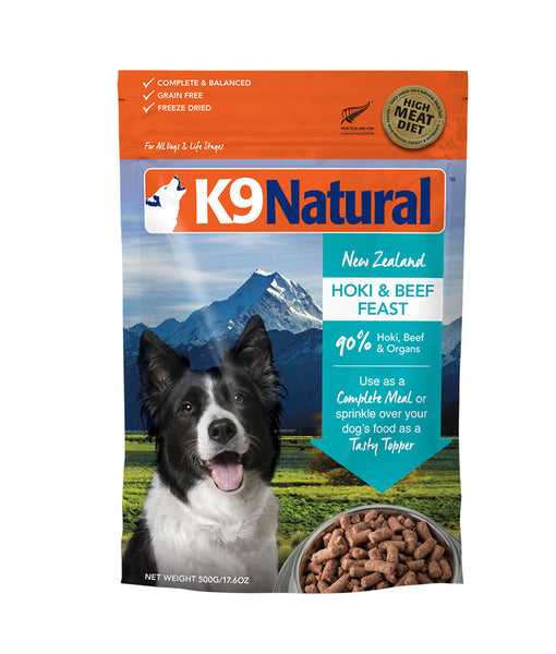 K9 Natural® Freeze-Dried Hoki & Beef Feast Dog Food (500g)