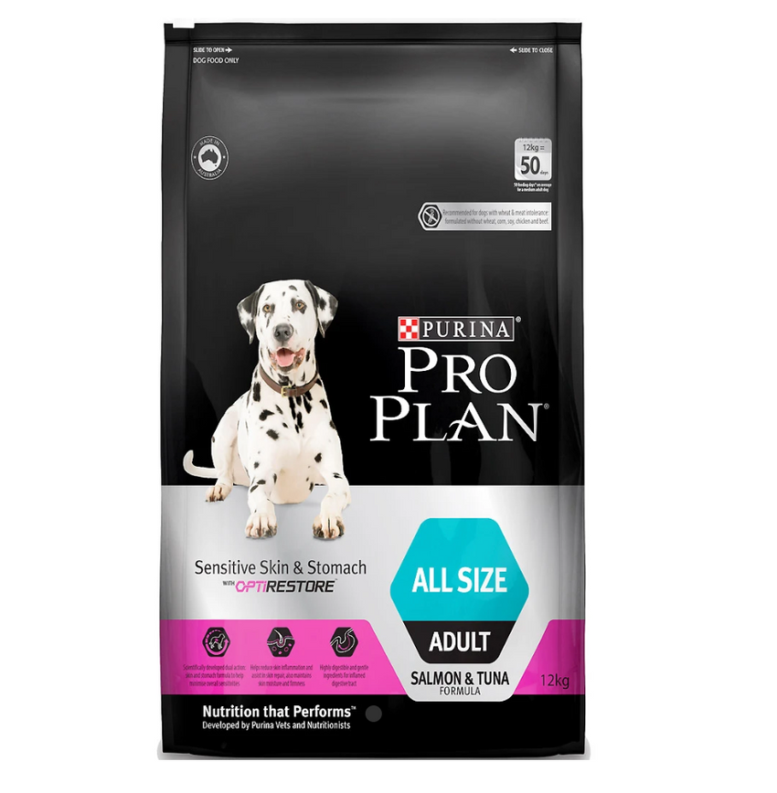 [20% OFF] Pro Plan® OptiRestore Sensitive Skin & Stomach All Sizes Adult Dry Dog Food (12kg)
