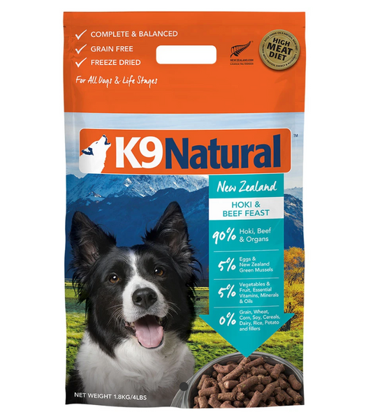 K9 Natural® Freeze-Dried Hoki & Beef Feast Dog Food (1.8kg)