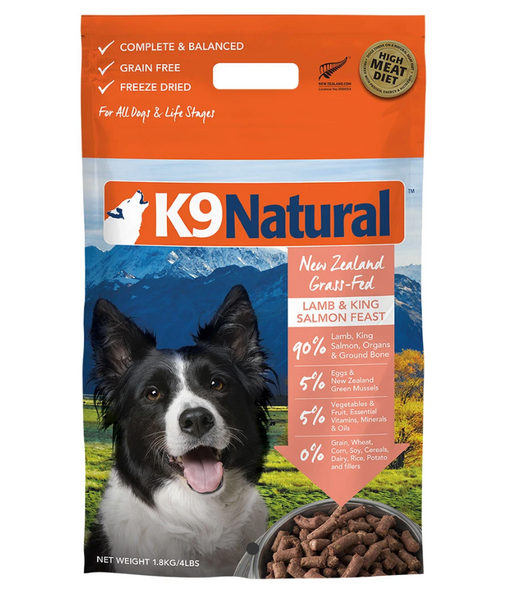 K9 Natural® Freeze-Dried Lamb & King Salmon Feast Dog Food (1.8kg)
