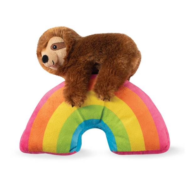 Ziggy Sloth on a Rainbow Dog Squeaky Plush Toy