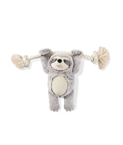 Toy Box Girlie Sloth On A Rope Squeaky Plush Toy