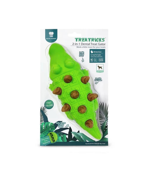 Natura Nourish Treatricks 2-in-1 Chicken Dental Chew Dog Toy (Gator)
