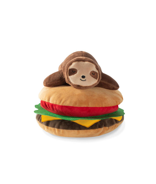 Toy Box Sloth On A Hamburger Squeaky Plush Toy