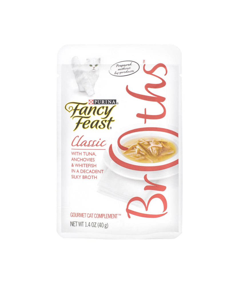 Fancy Feast Classic Broths with Tuna, Anchovies & Whitefish in a Decadent Silky Broth (40g)