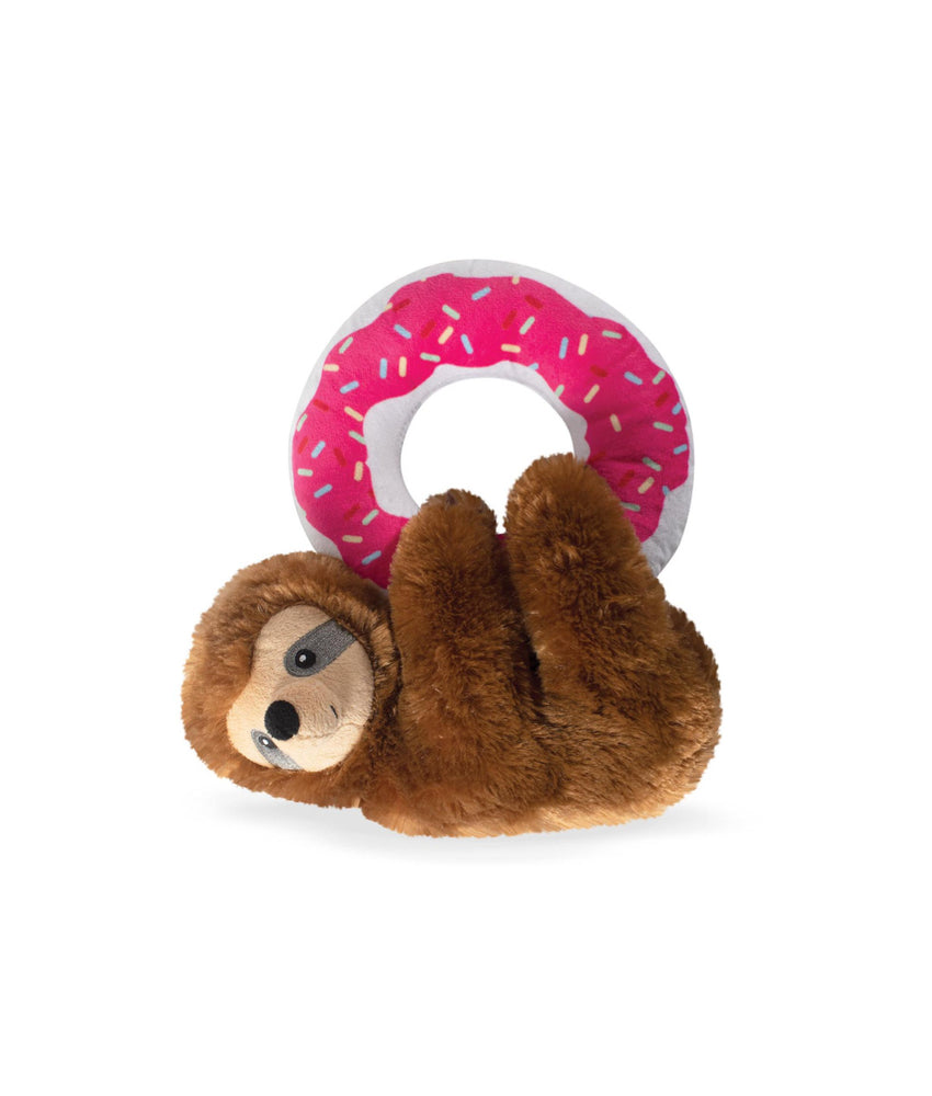 Toy Box Donut Leave Me Hangin Sloth Squeaky Plush Toy