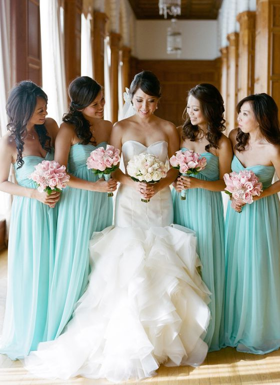 2021 Cheap A Line Mint Chiffon Sweetheart Long Bridesmaid Dresses / Gowns