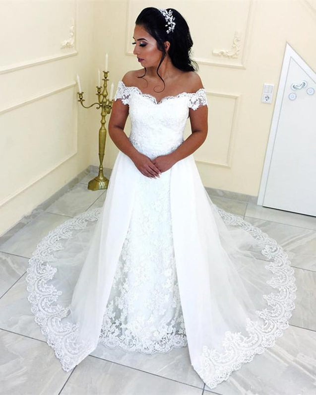 2021 White A Line Sweetheart Lace Off Shoulder Long Wedding Dresses