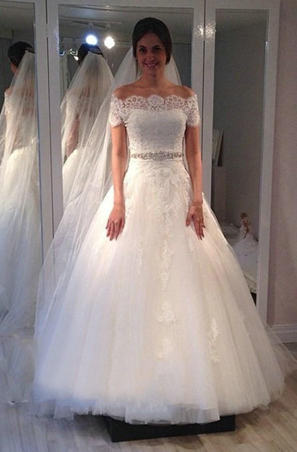 Elegant Off Shoulder Lace Tulle A Line 2021 Wedding Dresses With Short Sleeves