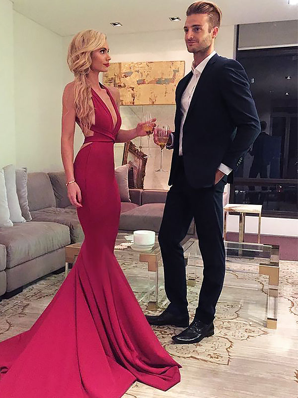 2021 Sexy Red Mermaid Backless V Neck Criss Cross Long Prom Dresses
