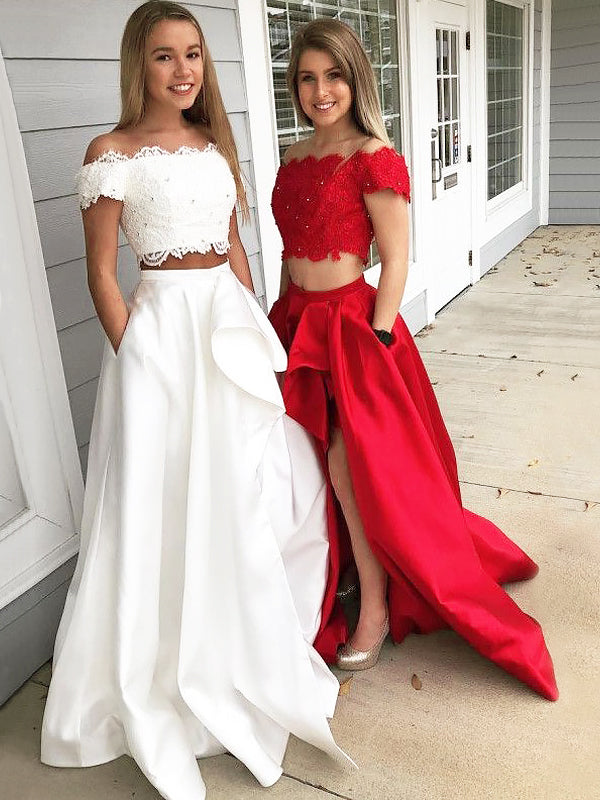 2021 New Arrival A Line Satin Red And White Off Shoulder Lace Side Slit Two Pieces Long Prom Dresses