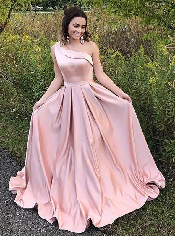 2021 Elegant A Line One Shoulder Satin Pink Long Prom Dress