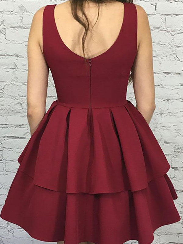 Burgundy V Neck Sleeveless Pleated Layers Cut Short/Mini Homecoming Dresses