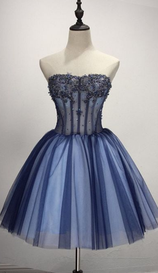 Strapless Ball Gown Appliques Tulle Beaded Pleated Dark Blue Cute Elegant Homecoming Dresses