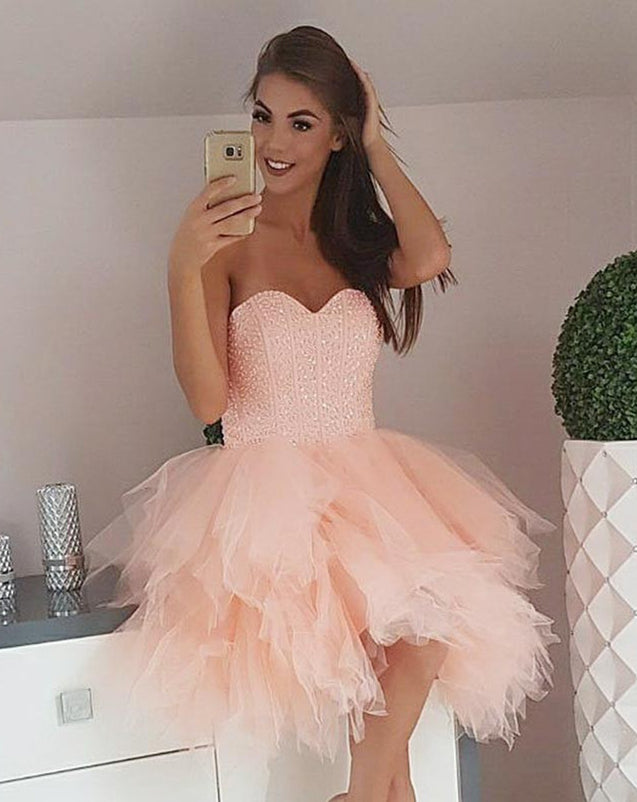 Strapless Sweetheart Backless Ball Gown Tulle Ruffles Short Sexy Homecoming Dresses