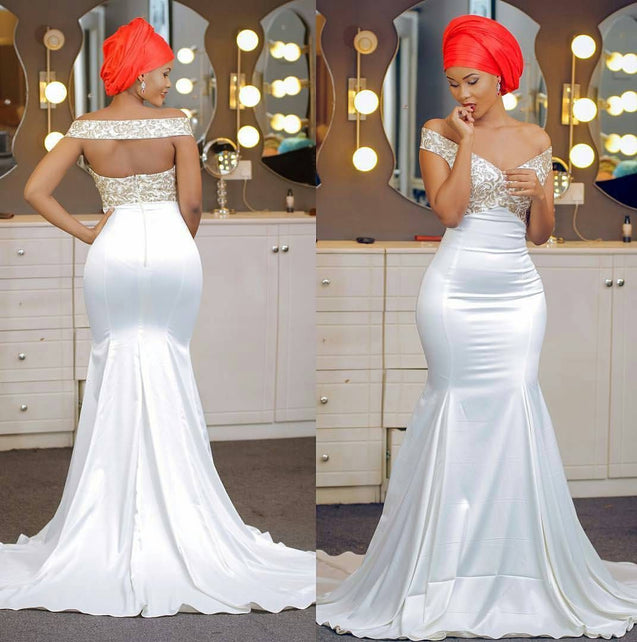 2021 Mermaid/Trumpet Satin Off Shoulder Embroidery Backless Long Wedding Dresses / Bridal Gowns