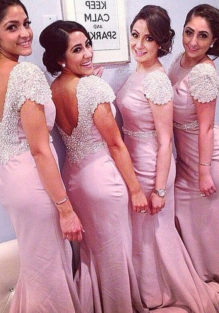 Pink Mermaid Scoop Short Sleeve Backless Long Bridesmaid Dresses / Gowns