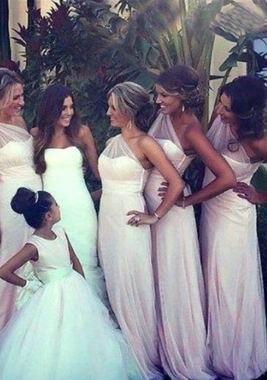 Pearl Pink Tulle One Shoulder Column Ruffle Long Bridesmaid Dresses / Gowns