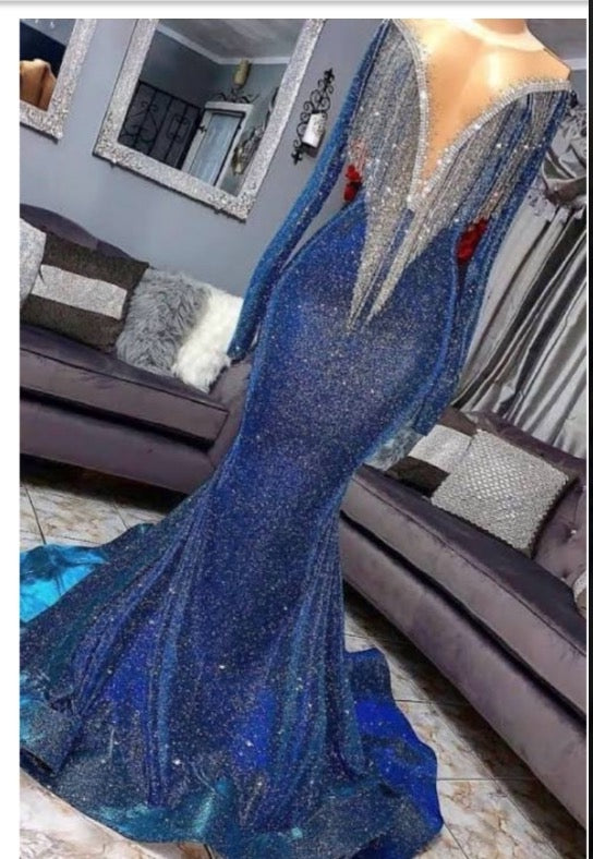 2021 Sexy Long Sleeve Mermaid V Neck Royal Blue Long Prom Dresses