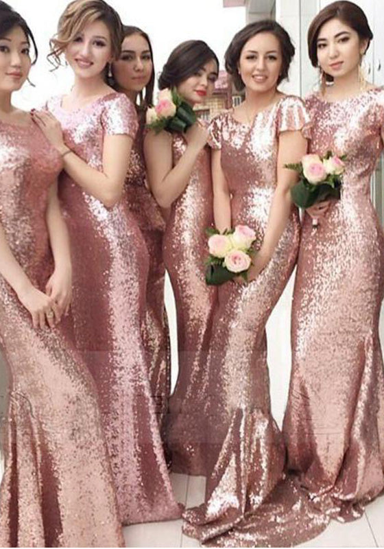 2021 Newly Mermaid Sequins Short Sleeves Long Train Pink Bridesmaid Dresses / Gowns