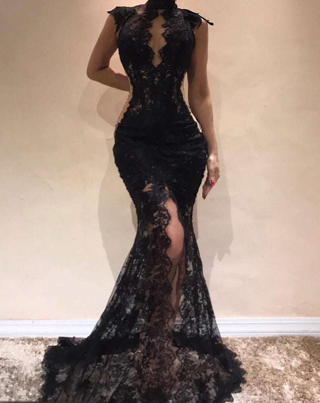 Charming Black High Neck Lace Mermaid 2021 Prom Dresses