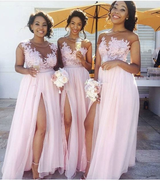 2021 Chiffon A Line Pink Side Slit Long Bridesmaid Dresses With Appliques