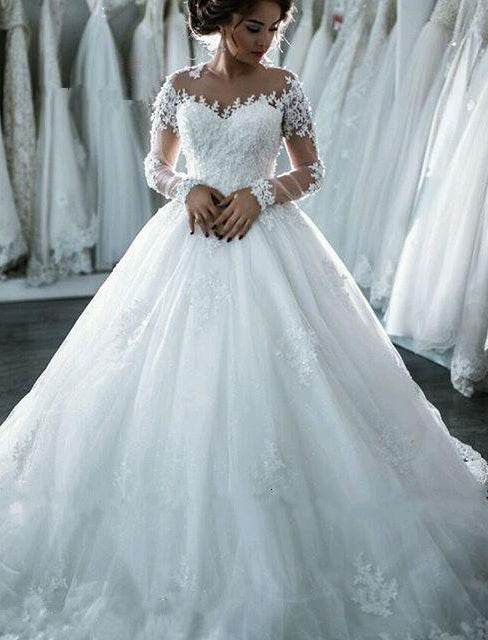 2021 Classic Long Sleeves Ball Gown Wedding Dresses With Appliques