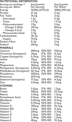 vybey ready-to-drink complete shake berry nutritional information
