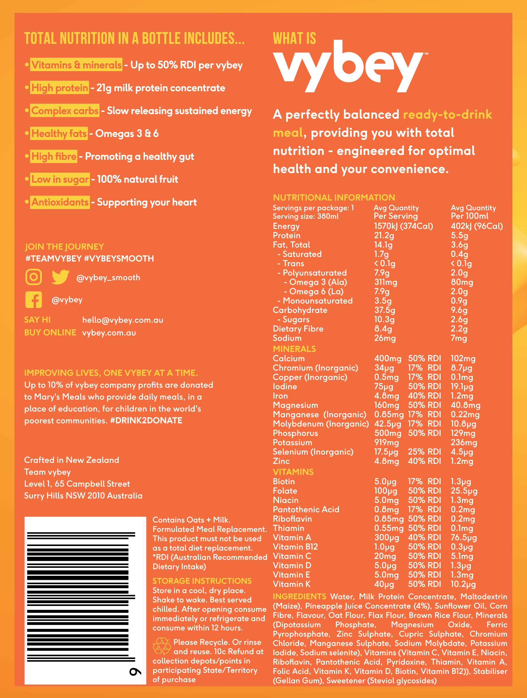 meal replacement ingredients