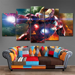 Marvel Legend Iron Man five Panel Canvas Art - Home Decor