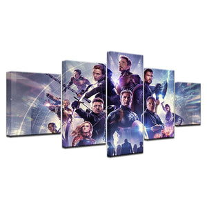 Marvel Super Heroes Five Panel Canvas Art - Home Decor