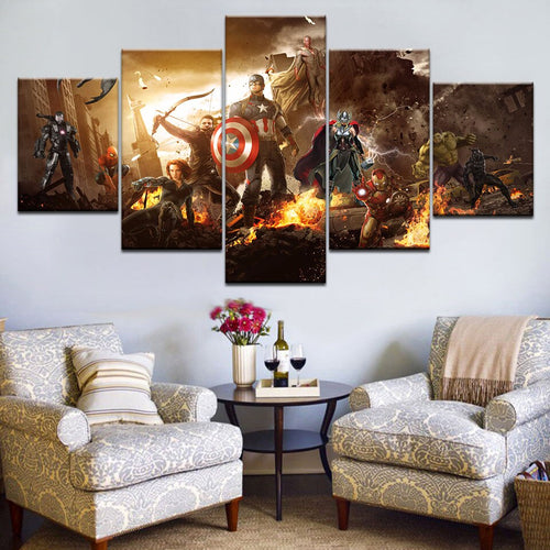 Avengers Five Panel Canvas Art - Home Decor