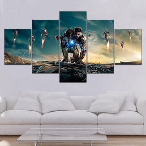 Iron Man Five Panel Canvas Art - Home Decor