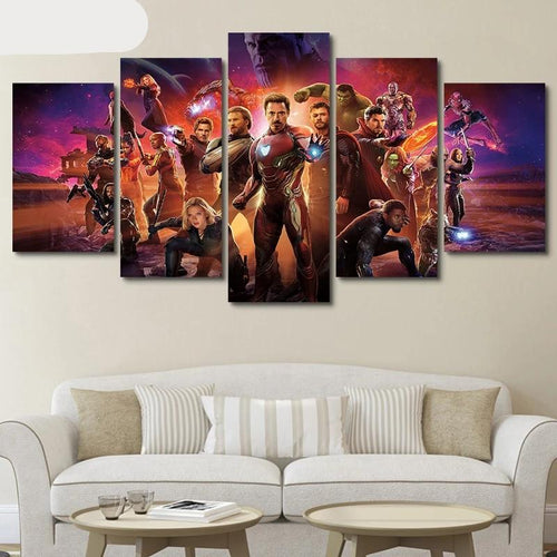 Avengers Endgame 5 Panel Canvas Wall Art - Home Decor