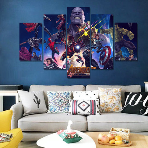 Avengers Five Panel Canvas Art - Room Decor