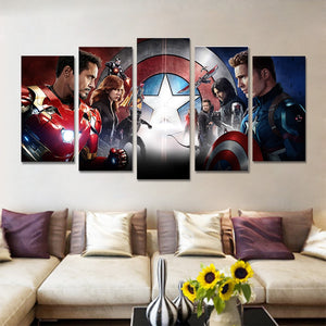 Avengers five Panel Canvas Wall art - Home Decor