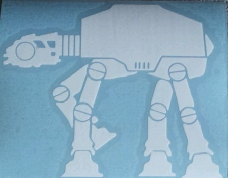 AT AT AT-AT Walker Logo WHITE cut vinyl sticker decal