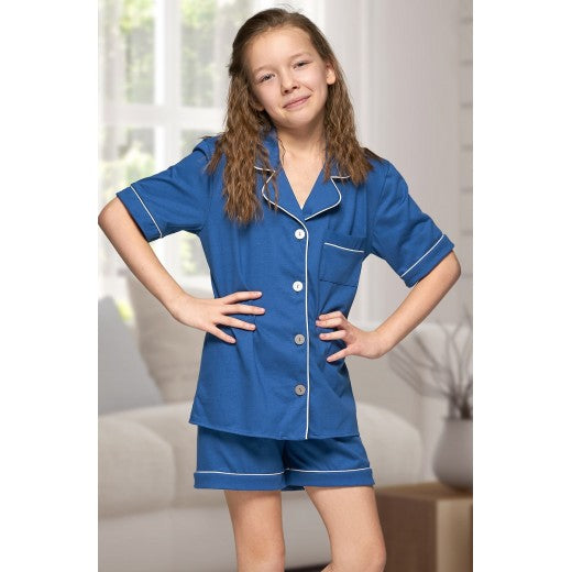 Child Blue Cotton Piped Short Pjs