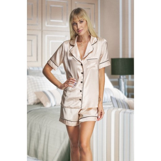 Adult Champagne Satin Short Pjs