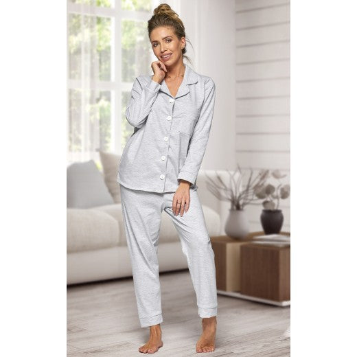 Adult Grey Cotton Long Pjs