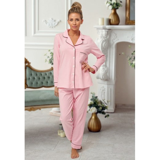 Adult Pink Cotton Long Pjs