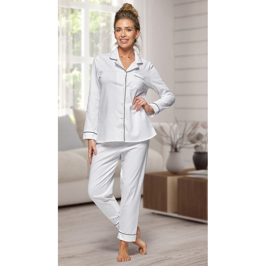 Adult White Cotton Long Pjs