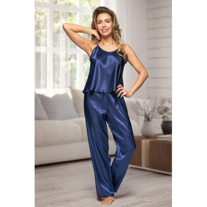 Adult Navy Satin Long Pjs