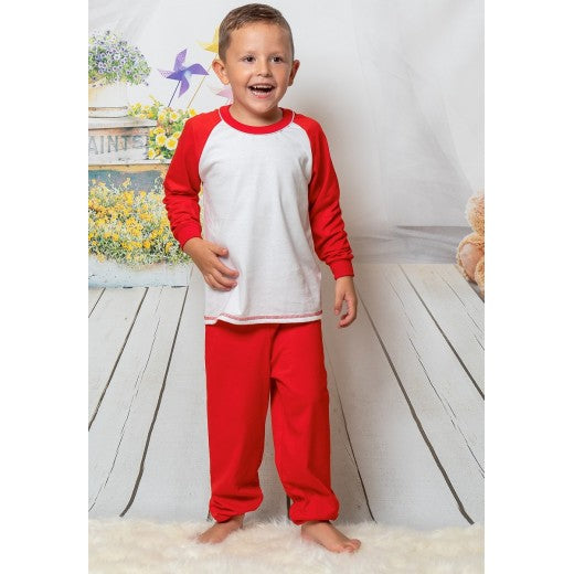 Child Red Long Cotton Pjs