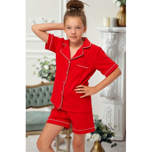 Child Red Cotton Piped Short Pjs